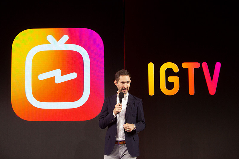 CEO Kevin Systrom announcing the IGTV app launch