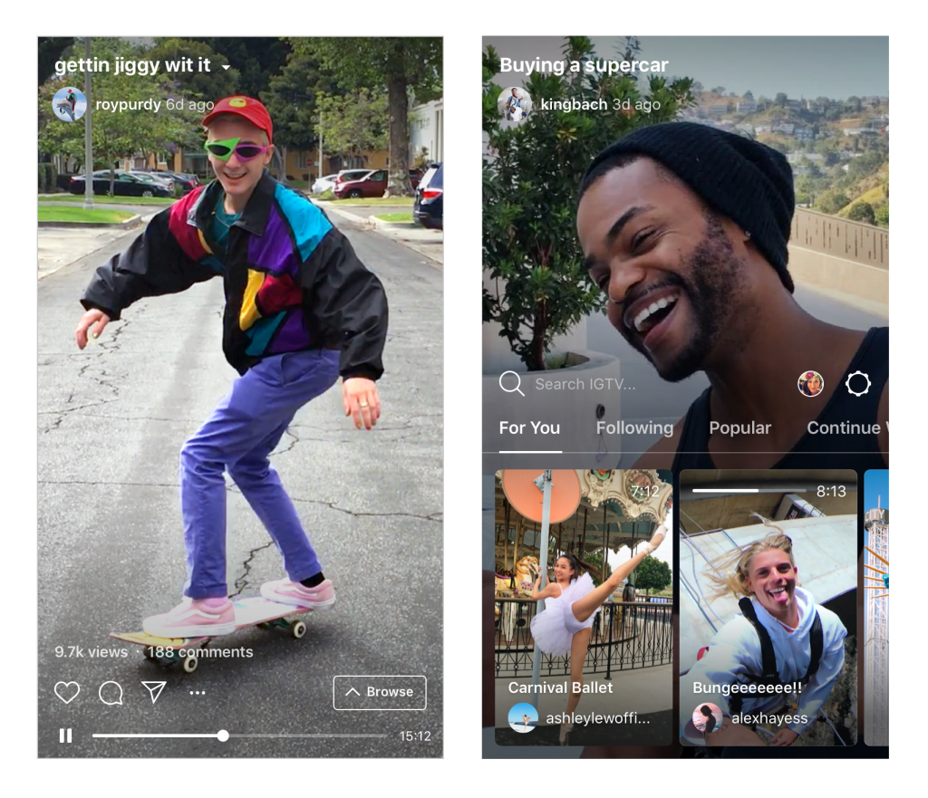 Examples of the IGTV app interface